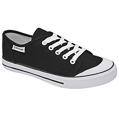 Dunlop - Black canvas 5 eyelet laced plimsolls