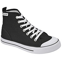 Dunlop - Black canvas 7 Eyelet laced high top plimsolls