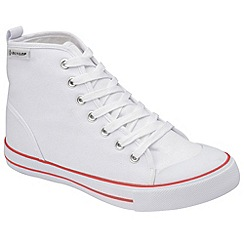 Dunlop - White canvas 7 eyelet laced high top plimsolls