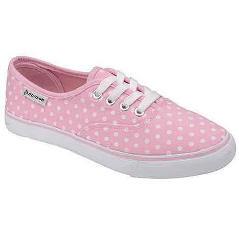 Dunlop - Pink polka dot 4 eyelet plimsolls