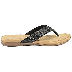 Dunlop - Black 'Dunlop' ladies toe post slip on sandals
