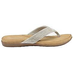 Dunlop - Silver 'Dunlop' ladies toe post slip on sandals