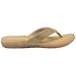 Dunlop - Gold 'Dunlop' ladies toe post slip on sandals