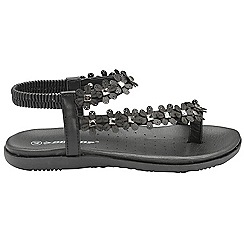 Dunlop - Black 'Dunlop' ladies floral toe post sandals