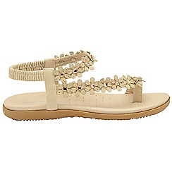 Dunlop - Latte 'Dunlop' ladies floral toe post sandals