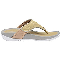 Dunlop - Beige 'Dunlop' ladies toe post comfort sandals