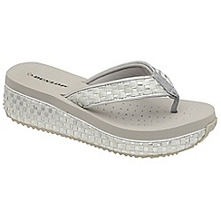 Dunlop - Silver Dunlop slip on toe post sandals