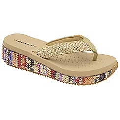 Dunlop - Beige Multi Dunlop slip on toe post sandals