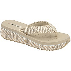 Dunlop - Beige 'Dunlop' slip on wedge toe post sandals