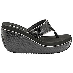 Dunlop - Black 'Dunlop' ladies slip on wedge sandals