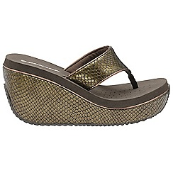 Dunlop - Brown 'Dunlop' ladies slip on wedge sandals