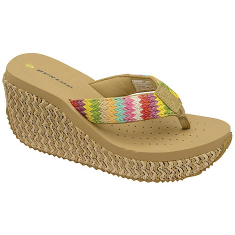 Dunlop - Beige raffia wedge sandals