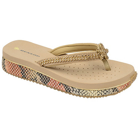 Dunlop - Beige jewelled demi wedge flip flops