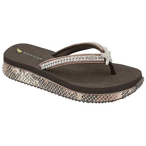Dunlop - Brown jewelled demi wedge flip flops