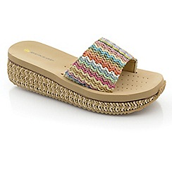 Dunlop - Beige raffia mule low wedge sandals