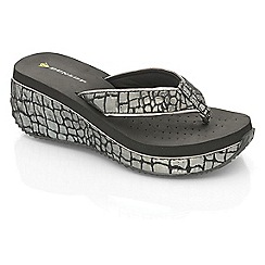 Dunlop - Black croc wedge sandals