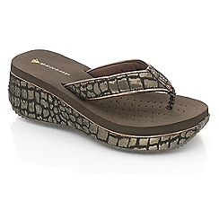 Dunlop - Dark brown croc wedge sandals