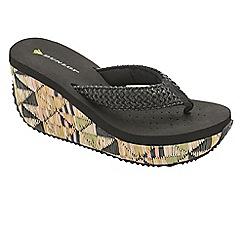 Dunlop - Black raffia high wedge sandals