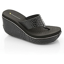 Dunlop - Black snake high wedge sandals