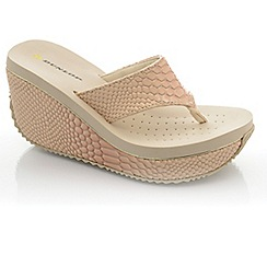 Dunlop - Nude snake high wedge sandals