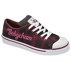 Babycham - Purple/black 'Mindy Check' lace trainers