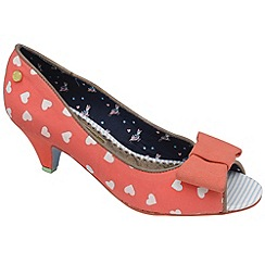 Babycham - Coral 'Uma' peep-toe bow low court shoes