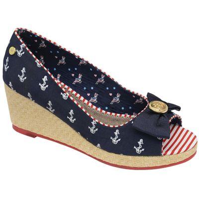 Babycham Navy ´Keisha´ peep toe wedge sandals - . -