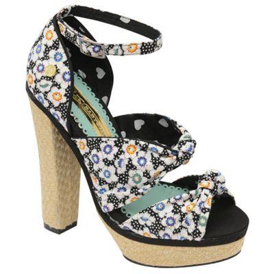 Babycham Black ´Waverly´ floral high heel sandals - . -