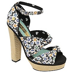 Babycham - Black 'Waverly' floral high heel sandals