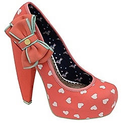 Babycham - Coral 'Fern' cone heel court shoes