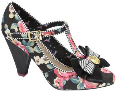 Babycham Black ´Kimberly Rose´ mary jane style floral shoes - . -