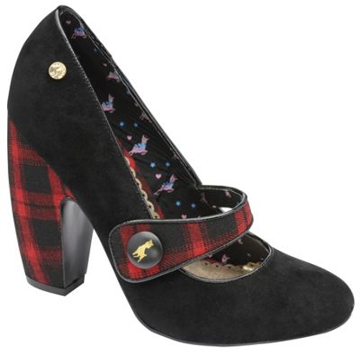 Babycham Black ´Moon Check´ mary jayne block heel shoes - . -