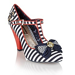 Babycham - Navy 'Kimberly Stripe' mary-jayne shoes