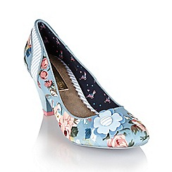 Babycham - Vintage blue 'Ursula Floral' court shoes