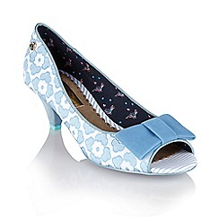 Babycham - Pale blue 'Uma Lace' peep-toe court shoes