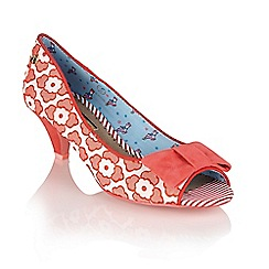 Babycham - Coral 'Uma Lace' peep-toe court shoes