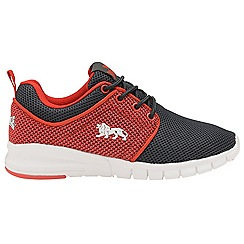 Lonsdale - Boys' charcoal/red 'Sivas' lace up trainers