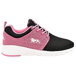 Lonsdale - Girls' black/pink 'Sivas' lace up trainers