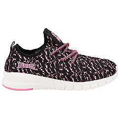 Lonsdale - Girls' pink/black 'Carlos' lace up trainers