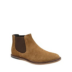 Frank Wright - Tobacco 'Vogts' mens flat slip on chelsea boots