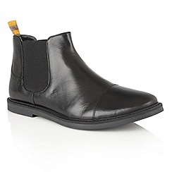 Frank Wright - Black Leather 'Marine' mens slip on chelsea boots