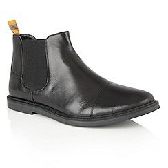 Frank Wright - Black Leather 'Marine' mens slip on chelsea boots