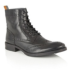 Frank Wright - Black Leather 'Cypress' mens lace up boots