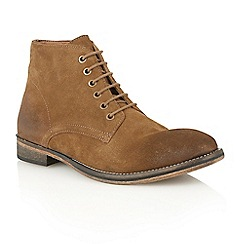 Frank Wright - Tobacco suede 'Oval' lace-up boots