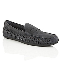 Frank Wright - Navy suede 'Leeward' mens slip-on loafers