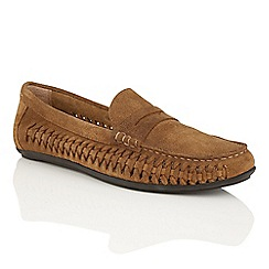 Frank Wright - Dark Tan suede 'Leeward' mens slip-on loafers