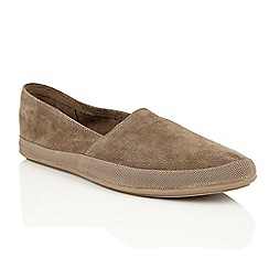 Frank Wright - Taupe suede 'Havana' mens espadrille pumps