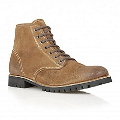 Frank Wright - Tobacco 'Tidy' suede lace-up boots