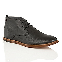 Frank Wright - Black leather 'Strachan' mens chukka boots