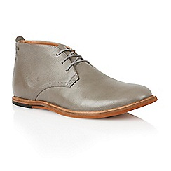 Frank Wright - Grey Leather 'Strachan' mens chukka boots